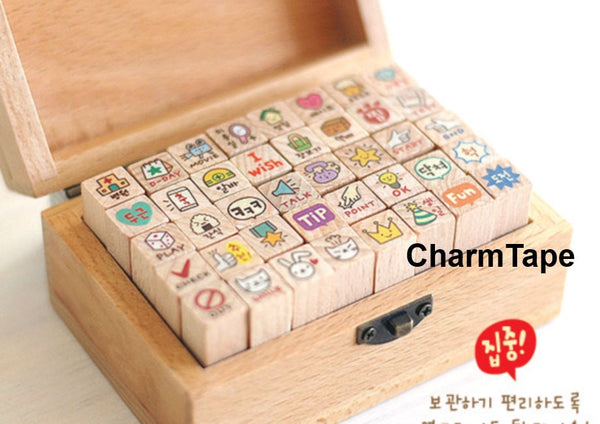 Toto Rabbit Diary Cute Stamp Set (1 wooden box, 40stamps) - CharmTape - 1