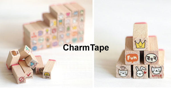 Toto Rabbit Diary Cute Stamp Set (1 wooden box, 40stamps) - CharmTape - 3
