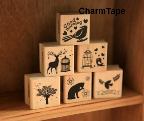 Wodden Stamp Set -  6 pieces to choose - CharmTape - 3