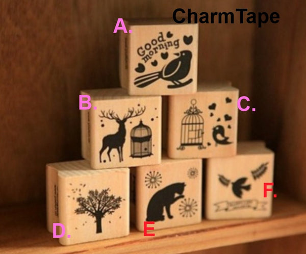Wodden Stamp Set -  6 pieces to choose - CharmTape - 1