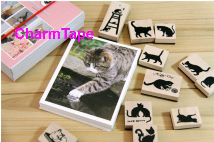 Wodden Stamp / Cat Post card Set - 40 postcards 11 stamps - CharmTape - 1