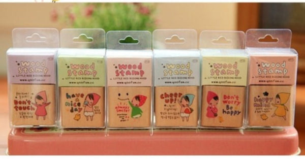 Wodden Stamp Set - Happy Girl 6 pieces to choose - CharmTape - 4
