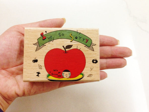 Wooden Rubber Stamp - I am so sorry - CharmTape - 3