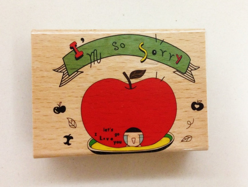 Wooden Rubber Stamp - I am so sorry - CharmTape - 1