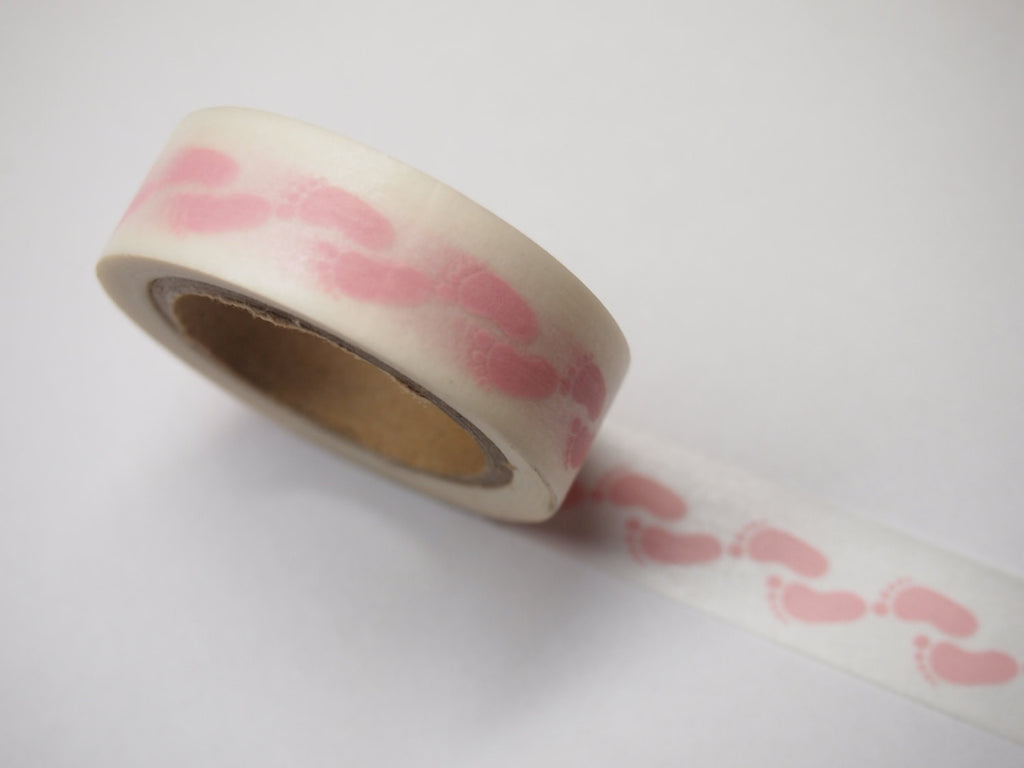 Footprint Washi Tape 15mm WT443 pink or light blue - CharmTape - 5