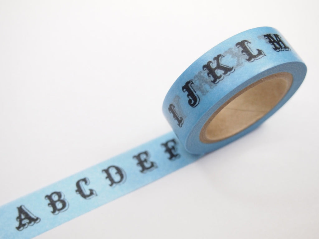 Vintage Inspired Typography Washi Tape WT255 blue or brown