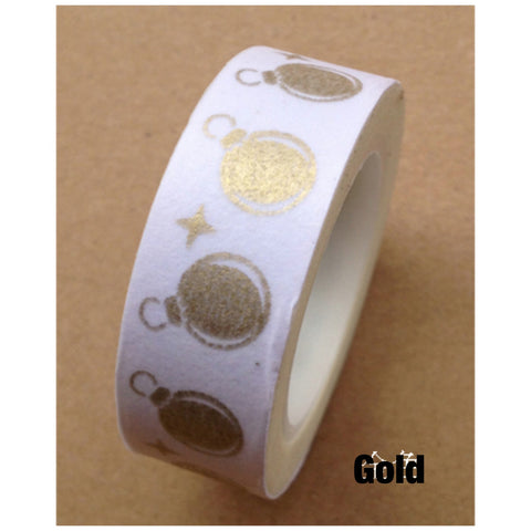 SALE Gold festive Ornaments Washi Tape 15mm WT452 - CharmTape