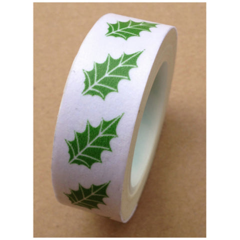 50% off SALE Festive Green leaf Washi tape 15mm x 10m WT458 - CharmTape