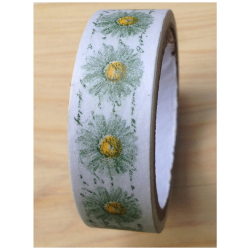 Washi tape - White daisy flower 2 Rolls WT463 - CharmTape