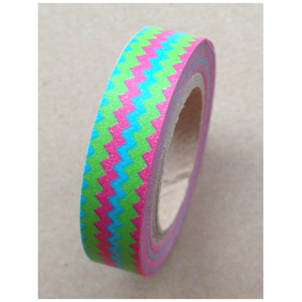 Aqua, pink, green chevron Washi tape 10mm x 10m WT464 - CharmTape