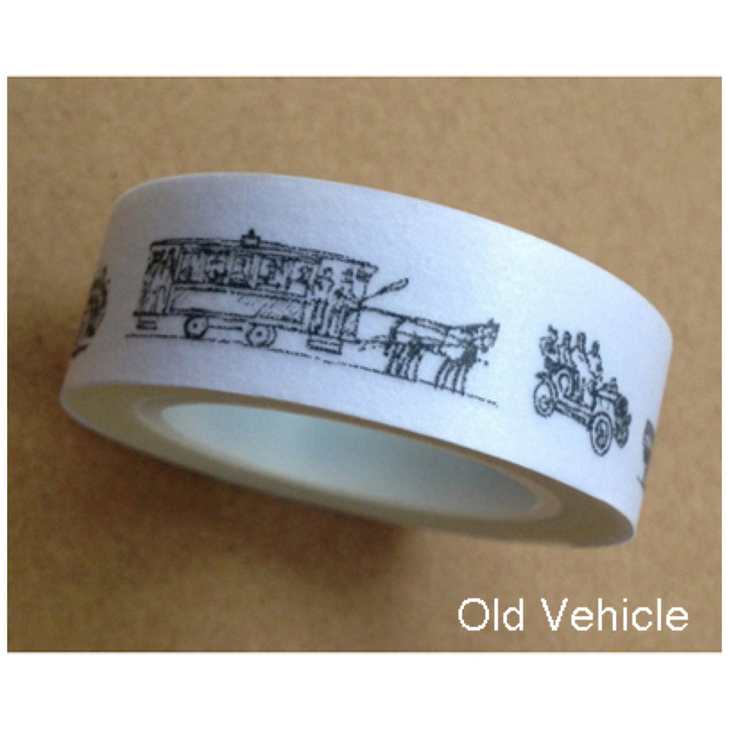 Washi tape - Vintage Vehicles  (1 roll - 15mm x 10m) WT479 - CharmTape