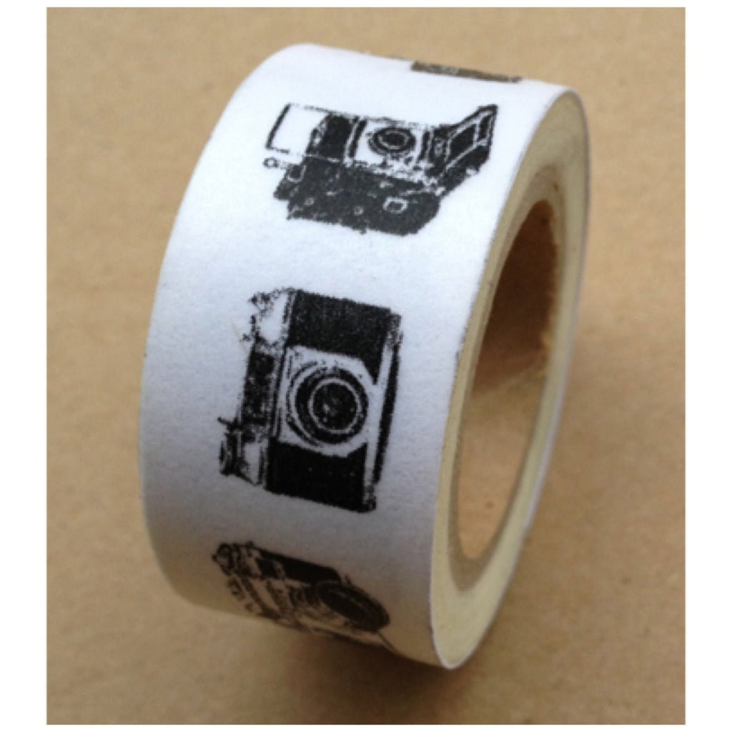 Washi Masking Tape Roll - Black Vintage Camera print (20mm x 10m) WT492 - CharmTape