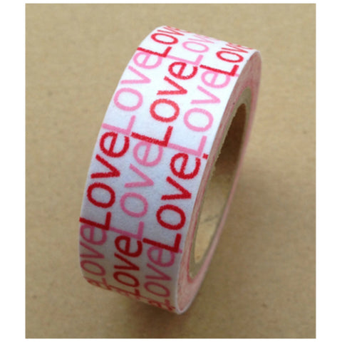 Red & Pink LOVE print Washi tape (15mm x 10m) WT495 - CharmTape