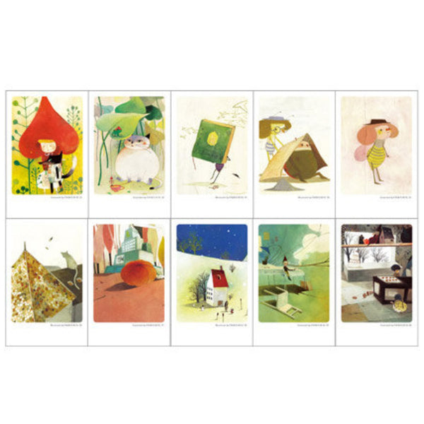 Mini Postcard Romantic Festive (Tin Case 40 sheets) Chun eun-sil Classic - CharmTape - 5