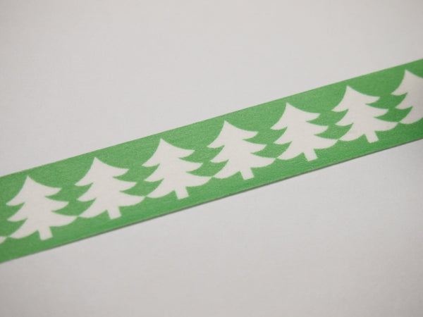 Washi Green & Red tape with white Tree WT516 - CharmTape - 6