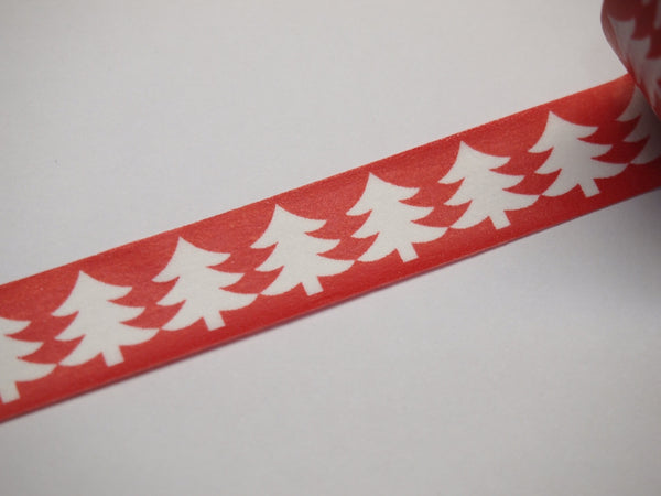 Washi Green & Red tape with white Tree WT516 - CharmTape - 4