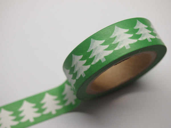 Washi Green & Red tape with white Tree WT516 - CharmTape - 5