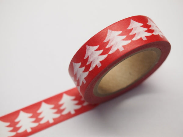 Washi Green & Red tape with white Tree WT516 - CharmTape - 3
