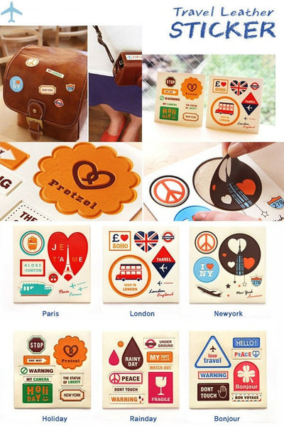 Vintage Style World Travel Leather Suitcase Sticker Set 6 sheets - CharmTape - 4