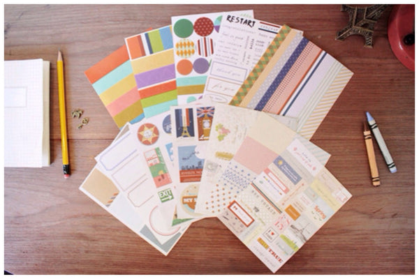 Vintage daily deco Paper Stickers sticky Decorative Set - 12 sheet ss222 - CharmTape - 1