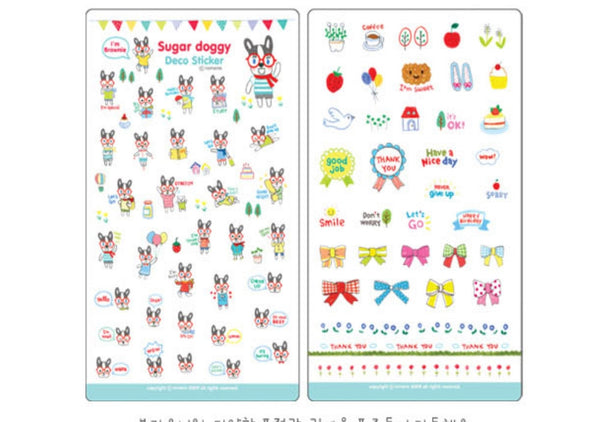 Transparent adhesive Stickers - 6 sheets set - Choo Choo Dogs ss108 - CharmTape - 4