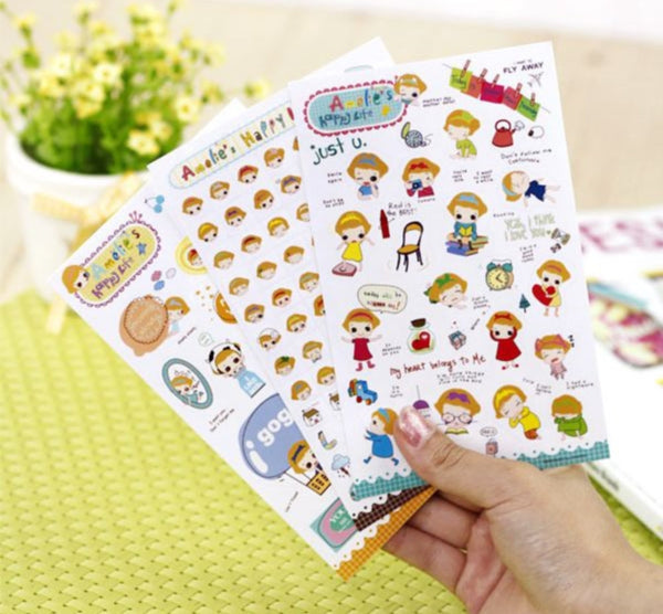 Transparent Stickers - 6 sheets set - Amelia ss108 - CharmTape - 1