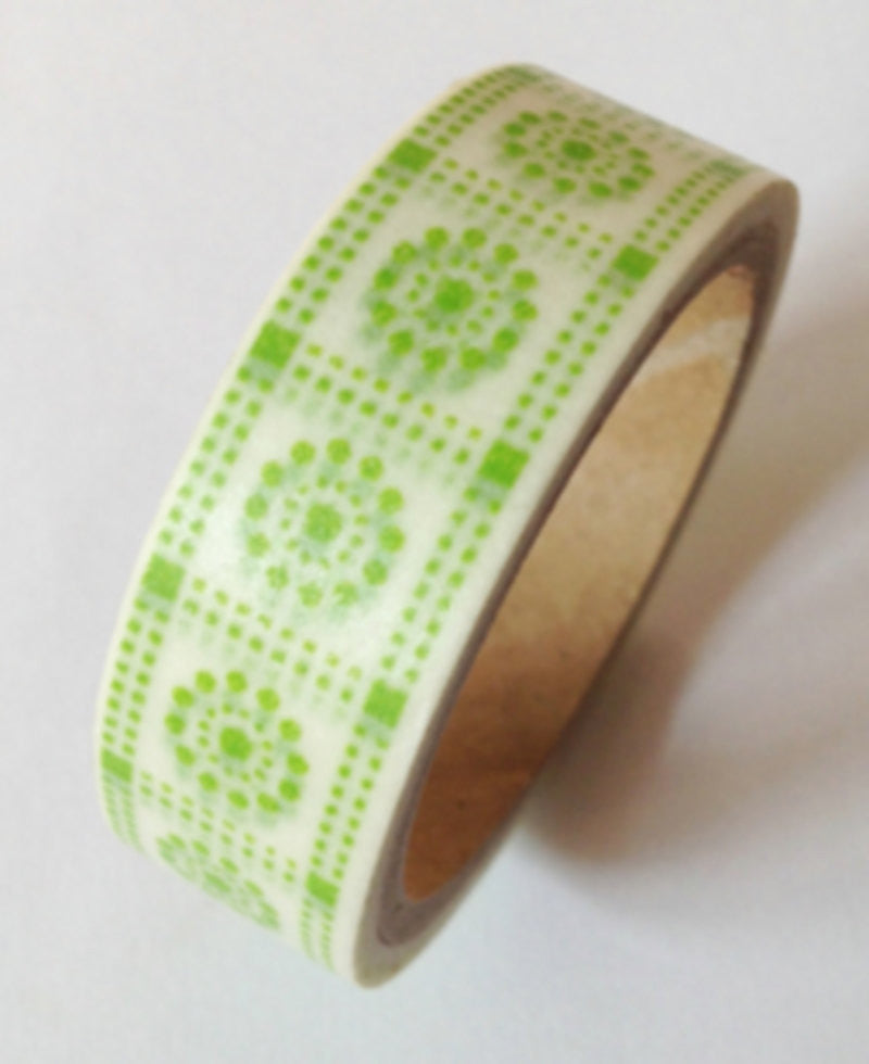 Washi tape - Pale Green Pattern 2 roll WT522 - CharmTape