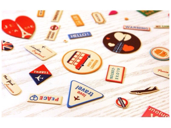 Vintage Style World Travel Leather Suitcase Sticker Set 6 sheets - CharmTape - 7