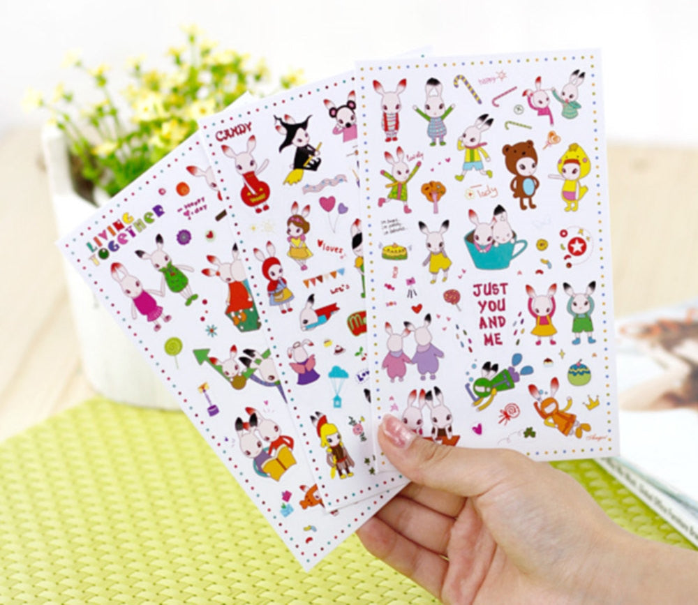 Black Tipped Ear Bunny Transparent Stickers - 6 sheets set ss107 - CharmTape - 1