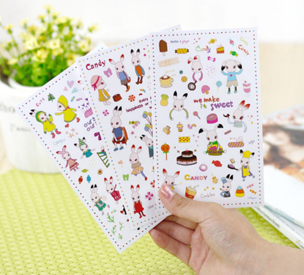 Black Tipped Ear Bunny Transparent Stickers - 6 sheets set ss107 - CharmTape - 2
