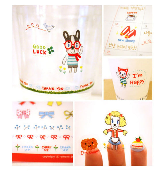 Transparent adhesive Stickers - 6 sheets set - Choo Choo Dogs ss108 - CharmTape - 1