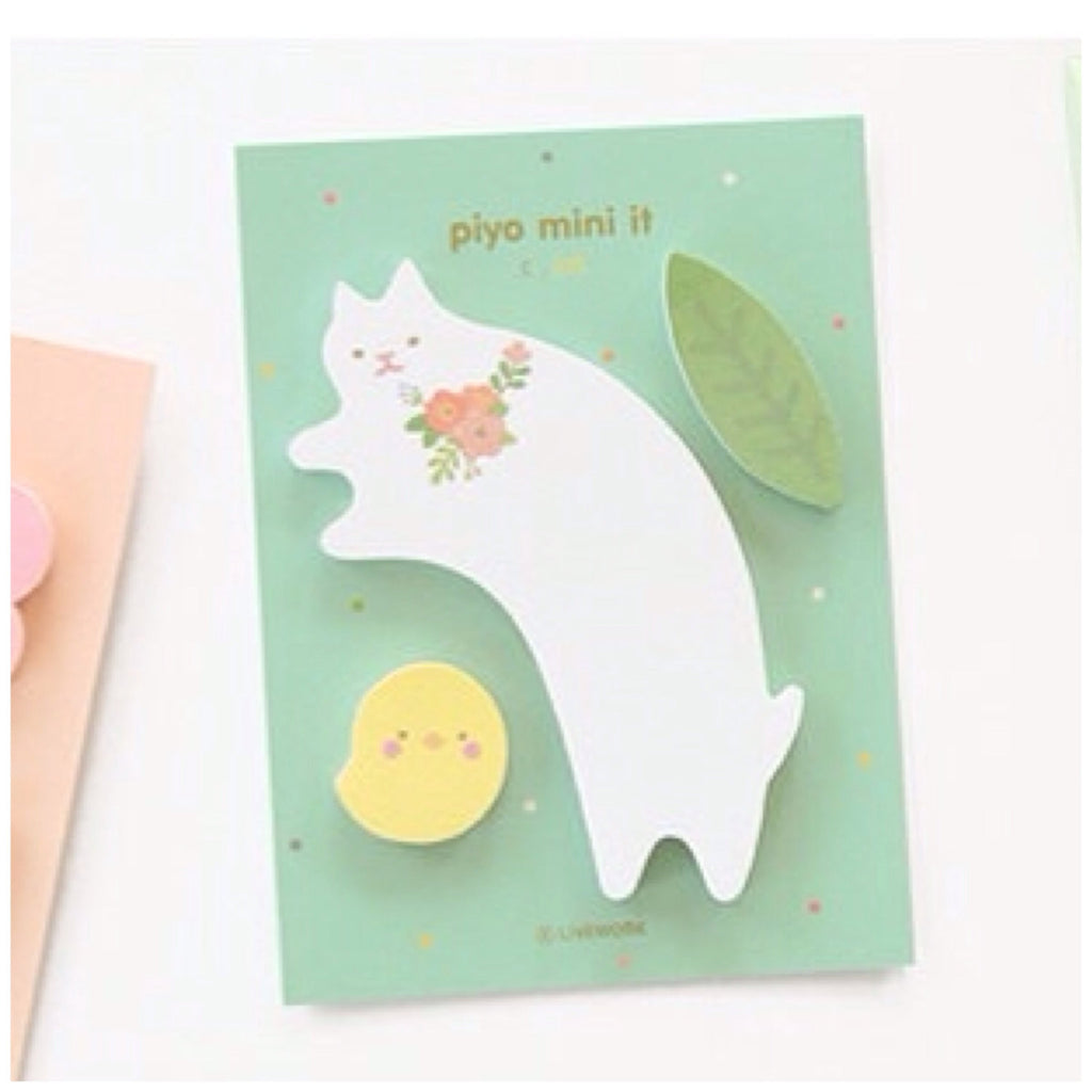 Sticky Memo Note Pad - White cat PN1 - CharmTape - 1