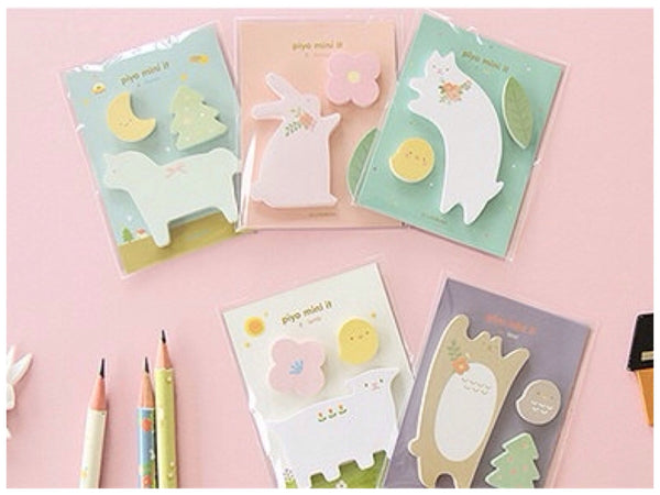 Sticky Memo Note Pad - White cat PN1 - CharmTape - 5