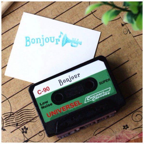 Vintage inspired cassettes wood mounted Rubber Stamp - CharmTape - 5