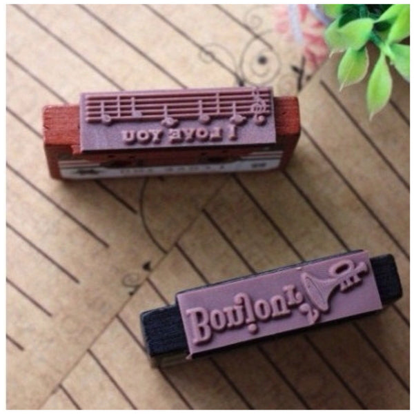 Vintage inspired cassettes wood mounted Rubber Stamp - CharmTape - 4