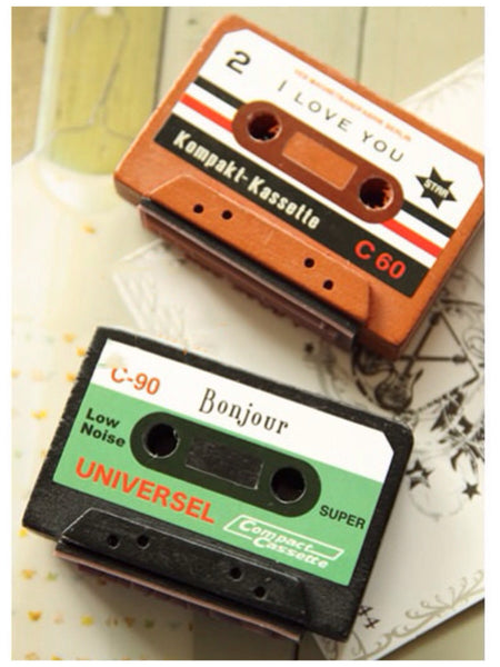 Vintage inspired cassettes wood mounted Rubber Stamp - CharmTape - 1