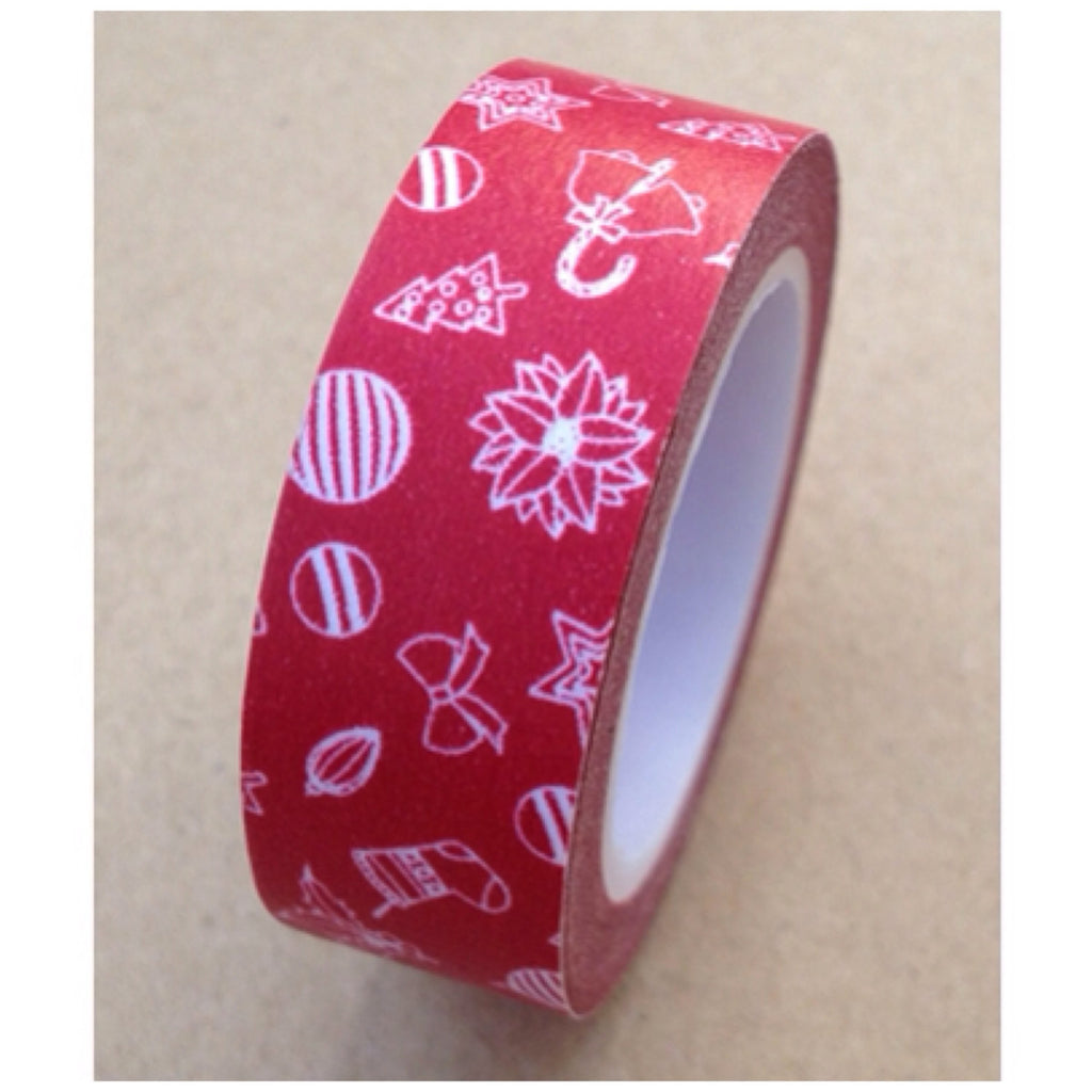 Red festive holiday Washi Tape 15mm WT528 - CharmTape
