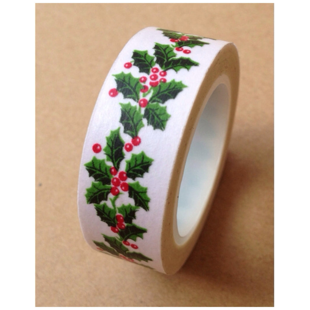 Festive Holly Leaves Washi Tape 15mm WT531 - CharmTape
