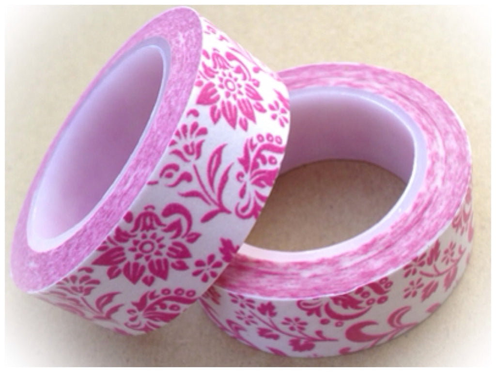 Pink Floral on white Washi Tape 15mm WT534 - CharmTape