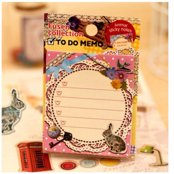 To do list Post It Memo black rabbit & White lace s320 - CharmTape - 1