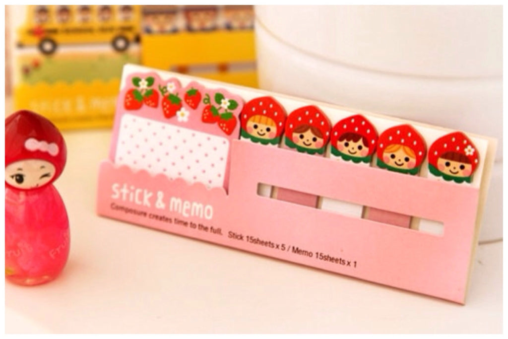 Sticky Post It Memo Note Pad - Strawberry Girl SS716 - CharmTape - 1