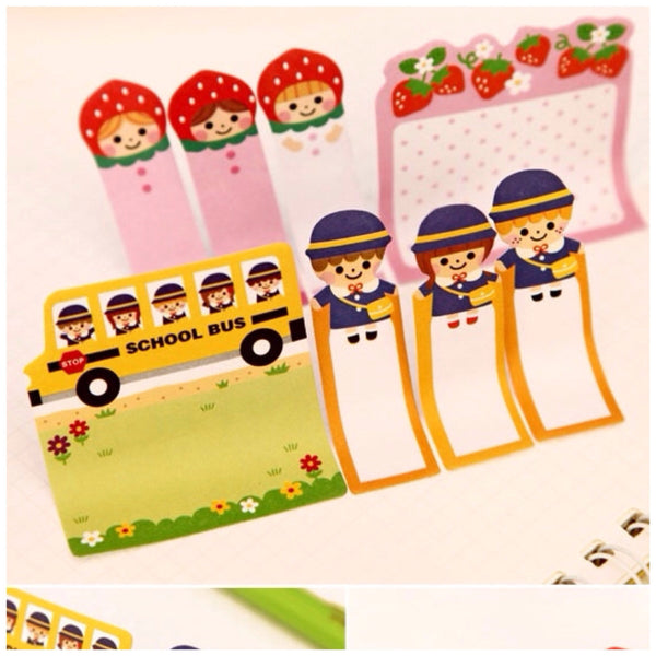 Sticky Post It Memo Note Pad - Strawberry Girl SS716 - CharmTape - 2