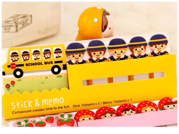 Post It Memo Note Pad - Yellow School Bus SS717 - CharmTape - 1