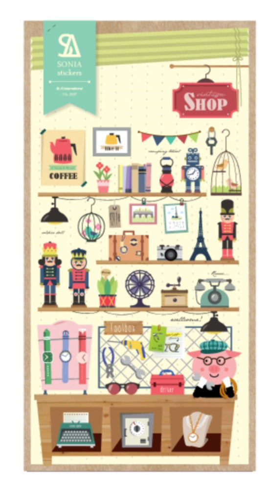 Stickers Shop Keeper paper Sticker Set 1 Sheets SS531 - CharmTape - 1