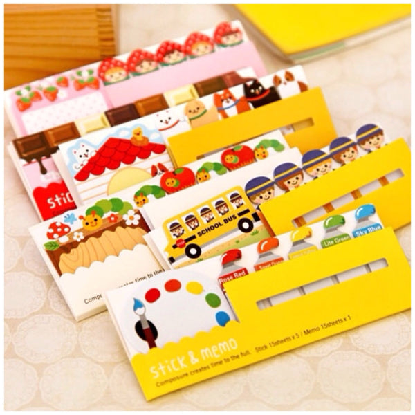 Sticky Post It Memo Note Pad - Colorful paint SS714 - CharmTape - 2