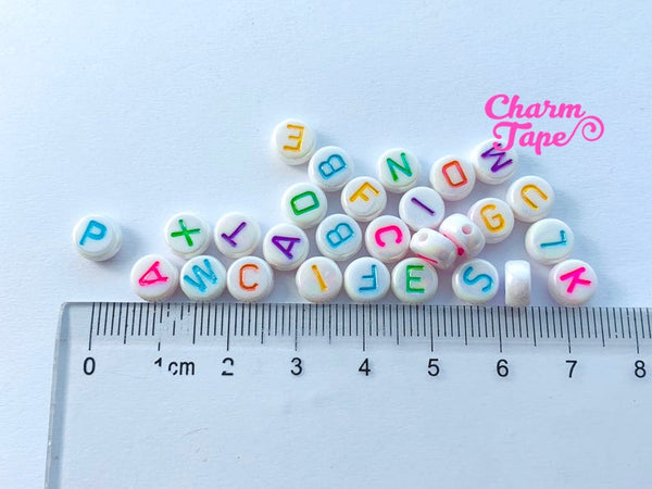 100 Iridescent White 7mm Alphabet Beads, Acrylic multi-color Letter Beads AB34