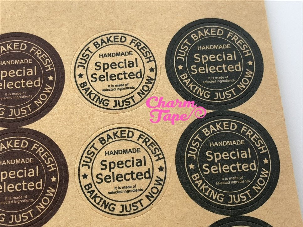 "80/160ct ""Special Selected"" 2.5cm Round Kraft Paper Stickers For Gift Packing Packaging 5/10 sheets GS033"