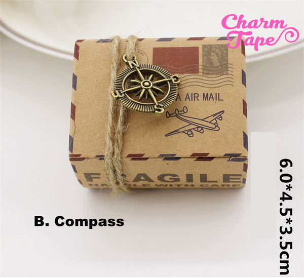 20pcs Airmail Kraft Paper Gift Box, Boxes For Candy Traveler Wanderlust - Party Favors PB007 6x4.5x3.5cm