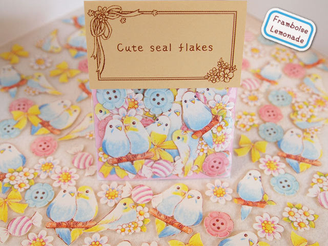 Love Birds Sticker Flake Seals Set 70 pieces SS923 - CharmTape - 1
