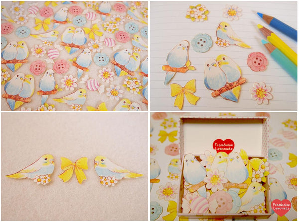 Love Birds Sticker Flake Seals Set 70 pieces SS923 - CharmTape - 2